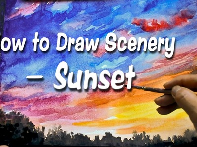 How to Draw Scenery--Sunset