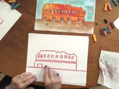How to draw the Coliseum using Chalk Pastels