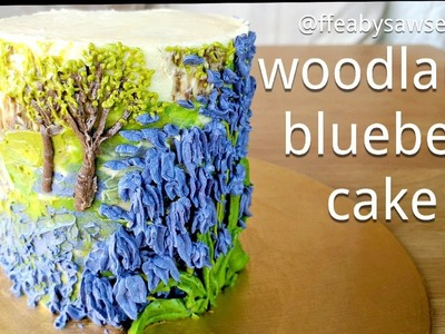 How to make a buttercream bluebell cake - piping & edible oil painting