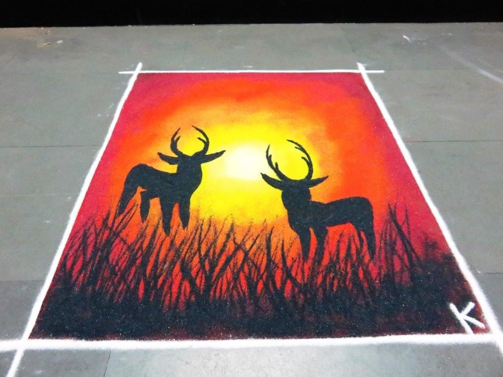 How to make beautiful deer poster rangoli design