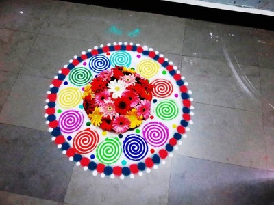 How to make fresh flower in rangoli design