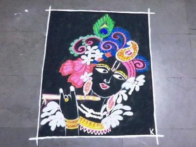 How to make krishna beautiful poster rangoli design