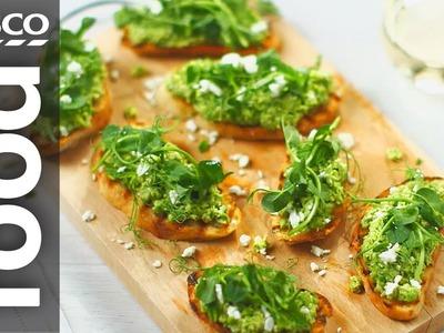 How to Make Pea and Feta Crostini | Tesco Food
