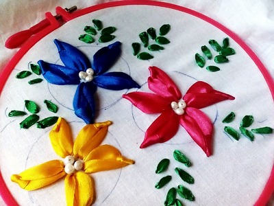 How to make Satin Ribbon Flower- Bullion Lazy Stitch Embroidery