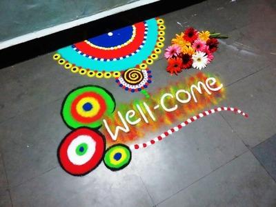 How to make wel come rangoli design