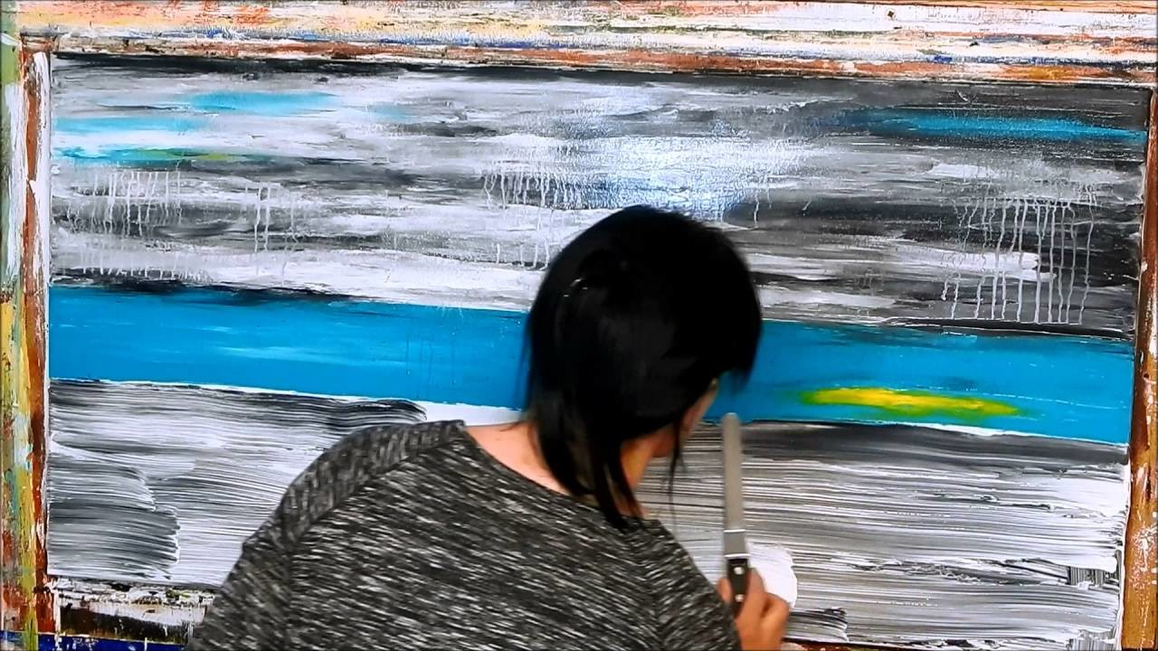 How to paint abstract landscape with acrylics. Tutorial, Demo. Landschaft mit Acrylfarben by ilonka