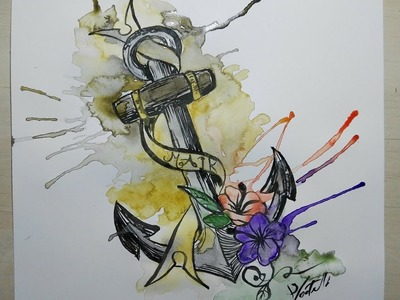 How to paint watercolour anchor tattoo