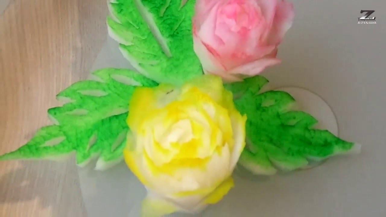 Rettich Rosen- How to make Radish rose by Zoltan Istella (Obst und Gemüse schnitzen)