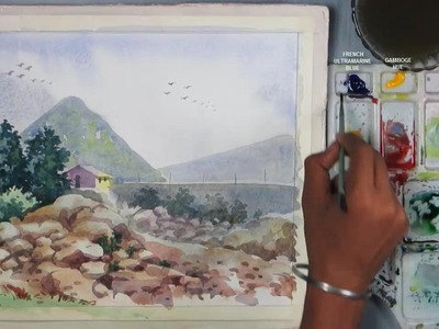 Watercolor Painting | How to Draw A Mountain Scenery