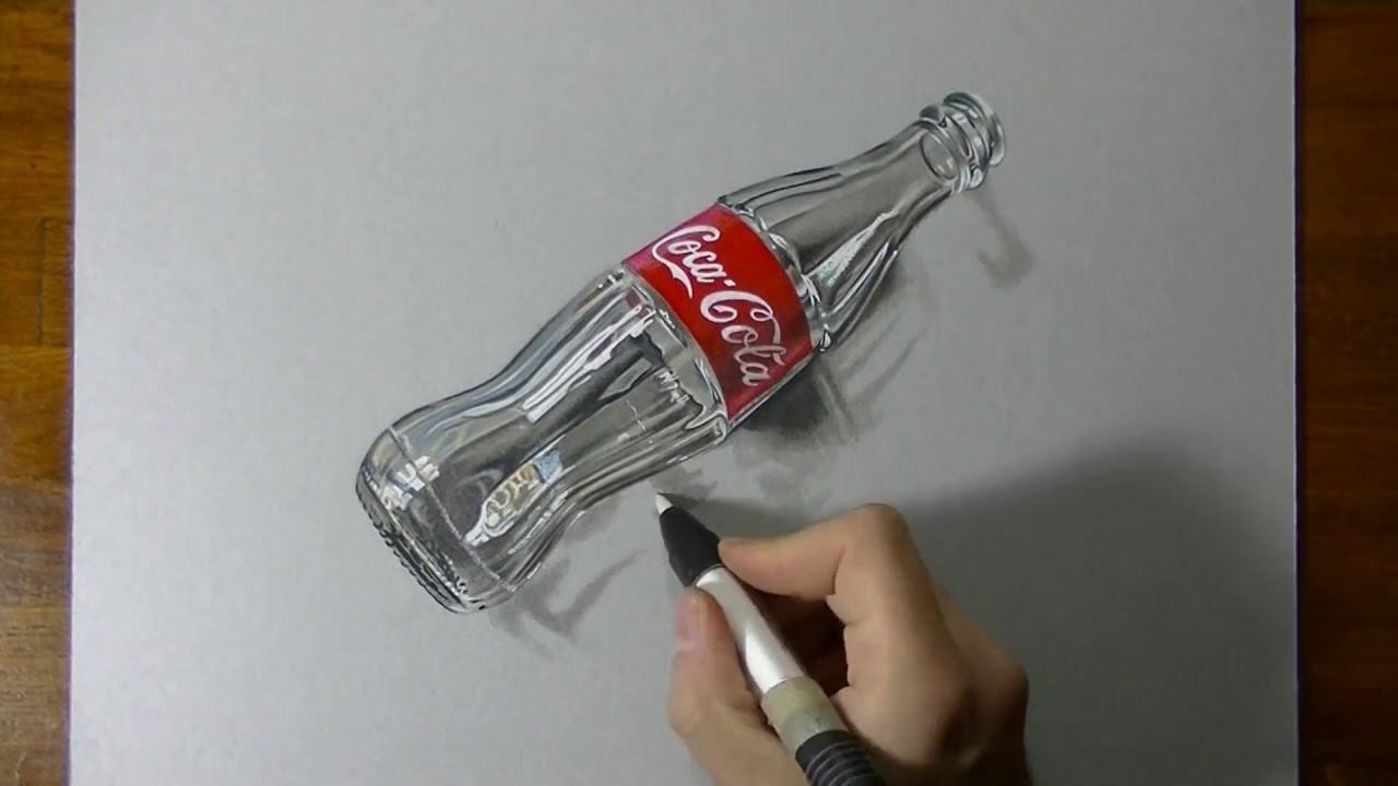 3D Art, Drawing Coca Cola empty glass bottle, Art on Paper ...