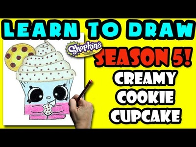 How To Draw Shopkins SEASON 5: Creamy Cookie Cupcake, Step By Step Season 5 Shopkins Drawing Shopkin
