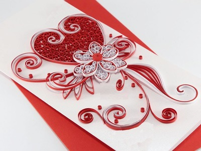 Quilled card |   How to make Beautiful Quilling Wedding Card-design