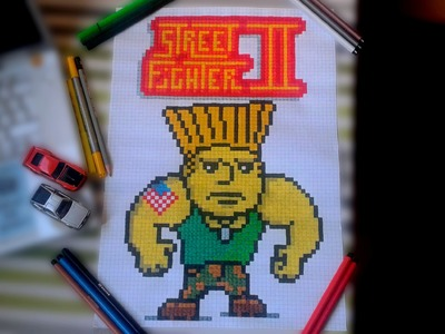 Street Fighter Guile Pen and Paper Pixel Art Speed Drawing