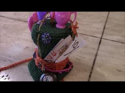 Crochet Mad Hatter Hat and Backpack for crochet Border Collie DIY Tutorial