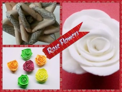 DIY 3 Different Types of Rose Flowers.How to Make Rose Flower.Origami Rose Flower.Quilling Rose.