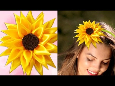 DIY for Girls : How to Make Kanzashi Satin Ribbon Sunflower | DIY Hair Accessories