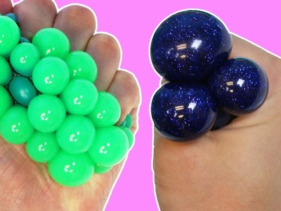 DIY How To Make Squishy Glitter Stress Balls! LEARN COLORS with Liquid Squishy Balls!