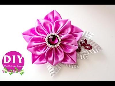DIY.Kanzashi flower tutorial. flowers from ribbon.Brooch