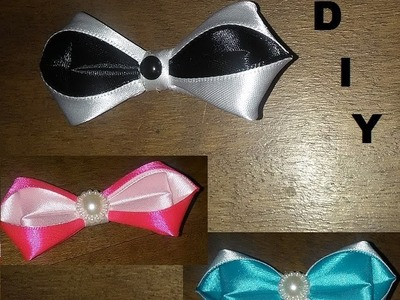 DIY.MK.Tutorial.Noeud papillon.Bowtie.Kanzashi.black and white