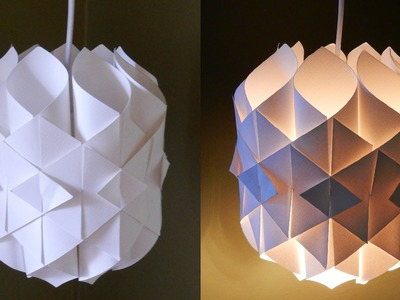 DIY paper lamp.lantern (Cathedral light) - how to make a pendant light out of paper - EzyCraft