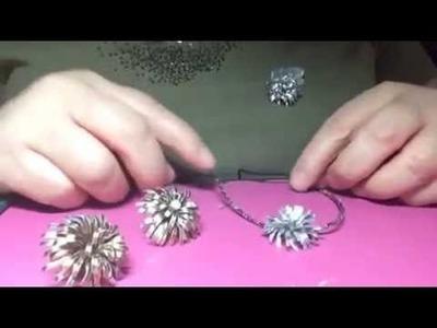 Diy. Recycled jewelry from aluminum can-earring-pendant and brooch.--joyeria reciclada de una lata
