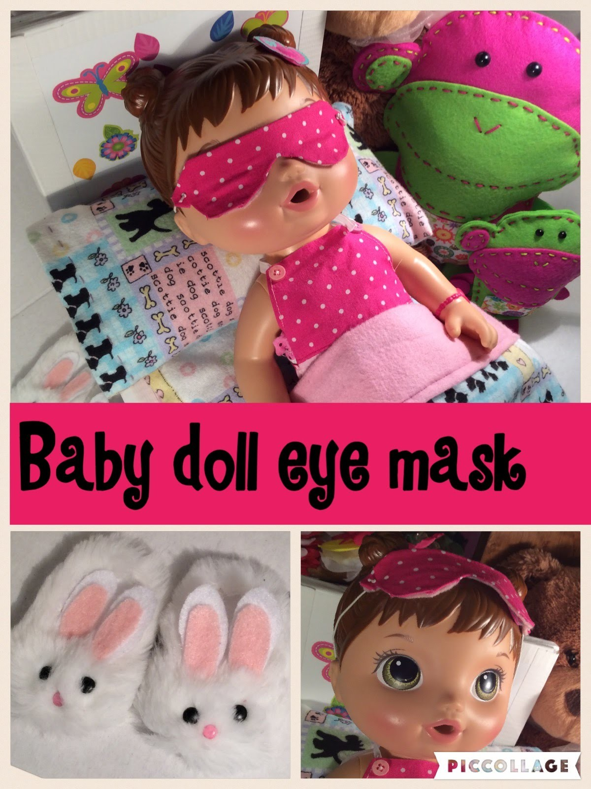 Easy D.I.Y baby doll mask. How to Make a Sleep Mask for Baby Alive ,American Girl Cute