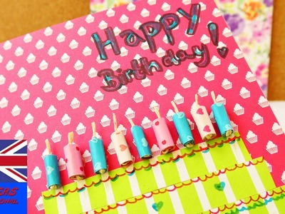 Happy Birthday!!! DIY birthday card   Great card out of colored paper   cake