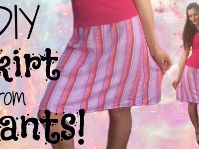 How to make a Cute Skirt out of Any Pants! - DIY clothing Tutorial