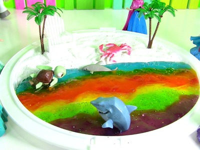 Princess Rainbow Slime Beach Scene DIY by Rainbow Collector