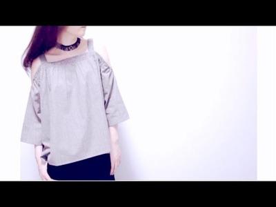 Sewing + Refashion DIY Off The Shoulder Top (with shoulder straps)