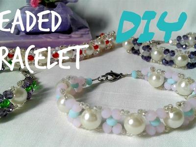 "Tutorial.DIY:how to make easy beaded bracelet ""summer color*2"". handmade tutorial"