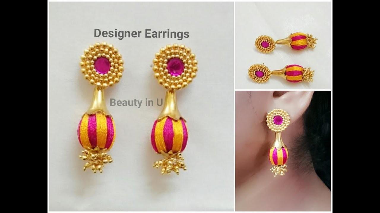 Designer Silk Thread Earrings making at Home | Tutorial