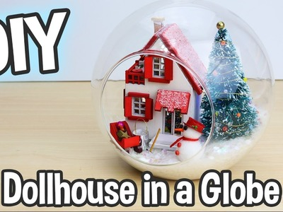 DIY Miniature Dollhouse Kit Cute Christmas Globe Ornament with Working Lights!. Relaxing Crafts
