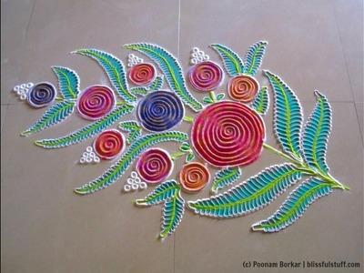 Flower bouquet rangoli   Recycling the used rangoli powder   Innovative rangoli by Poonam Borkar