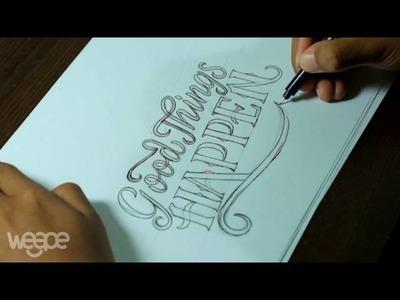 "Hand Lettering. Typography Tutorial, SpeedArt | ""Good Things Happen"""