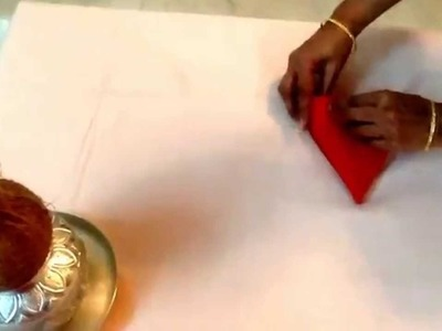 How to fold blouse piece for puja kalasam