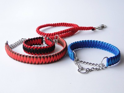How to Make a Paracord  Half Choke Dog Collar-Leash handle-King Cobra Weave