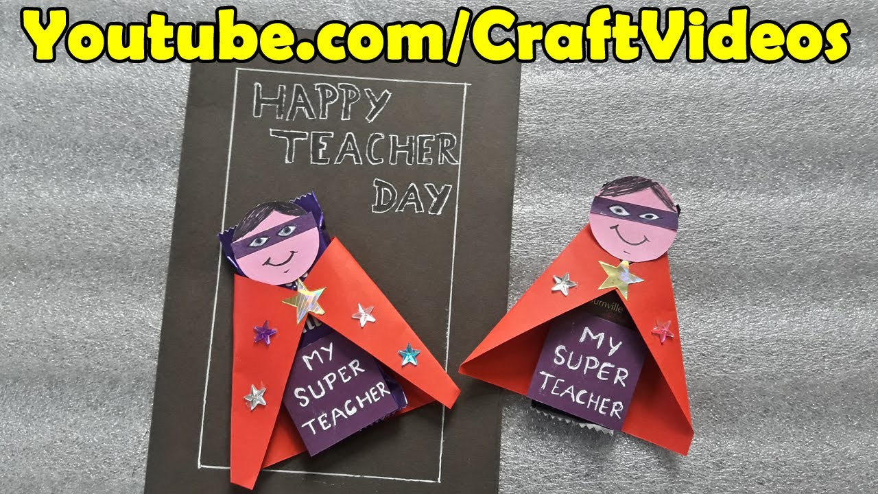 Teachers Day Card Making Ideas Part - 35: Teachers Day Card Ideas For Kids | Chocolate Wrapping Ideas | Easy Teachers  Day Cards