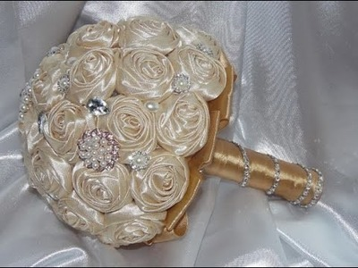 #1 DIY How to make Your Own Bridal Bouquet Brooch Fabric Flowers