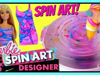 Barbie Spin Art Designer! DIY Make Your Own Clothes For Barbie! Design Super CUTE Dresses For Barbie