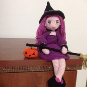 Crochet Pattern Cute Witch Samantha Doll Amigurumi Pdf