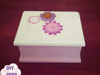 Decoupage box with crackle medium and paper flowers DIY ideas decorations tutorial. URADI SAM