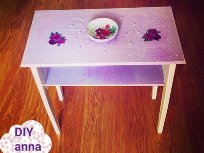Decoupage table shabby chic with scratches DIY ideas decorations tutorial. URADI SAM