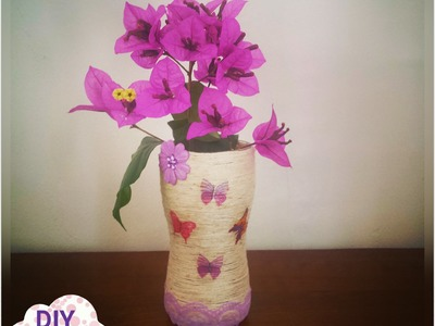 Decoupage yarn glass vase DIY ideas decorations tutorial. URADI SAM