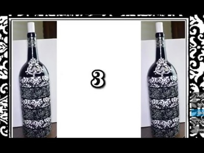 DIY Decoupage Wine Bottle With Rhinestones Decor { 3 Of 5 } (HD)