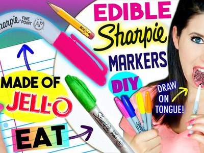 DIY EDIBLE Sharpie Markers | EAT Sharpies Whole | Draw On Tongue |  EATABLE School Supplies!