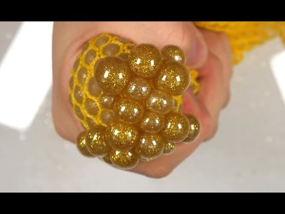 DIY How To Make 'Gold Colors Glitter Powder Squishy Stress Ball Balloons' Play Learn Colors Slime