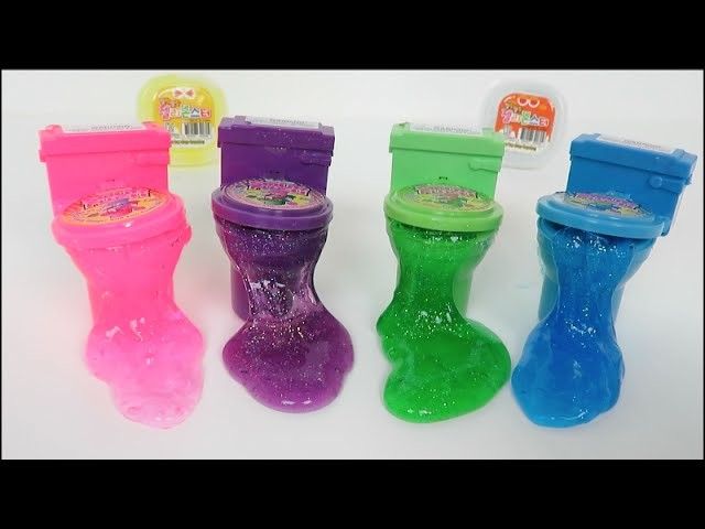 DIY How To Make Sparkly Rainbow 'Colors Toilet Jelly Slime Poop' - Tutorial Glitter Putty