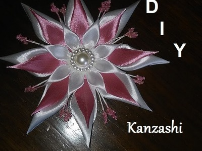 DIY.MK.Tutorial.Kanzashi flower white&rose
