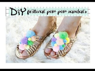 DIY pom pom festival sandals